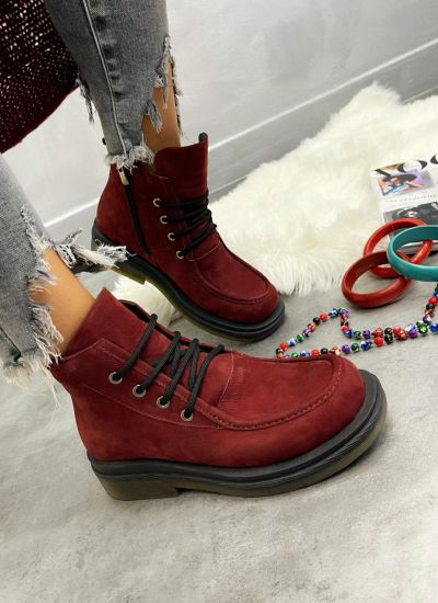 Leather ankle boots ANIKA - WINE RED
