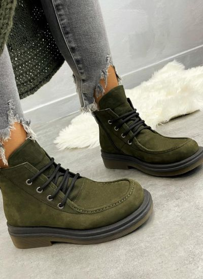 Leather ankle boots ANIKA - DARK GREEN