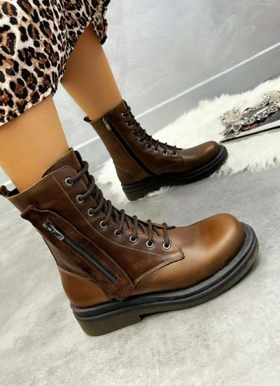 Leather ankle boots UNA - BROWN