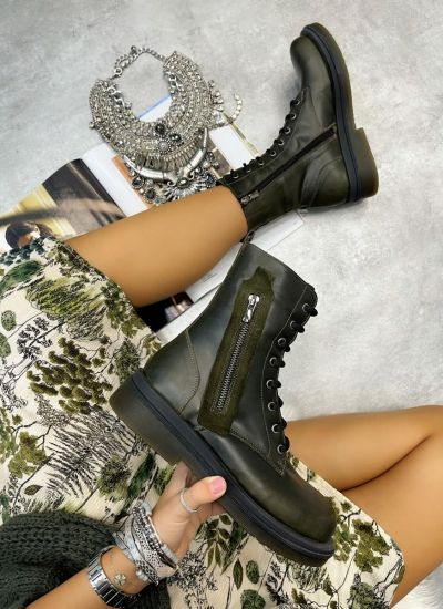 Leather ankle boots UNA - DARK GREEN
