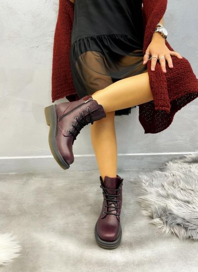 Leather ankle boots ALINA - WINE RED
