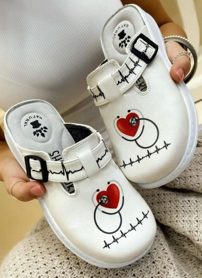 Patterned women clogs DOCTOR - WHITE