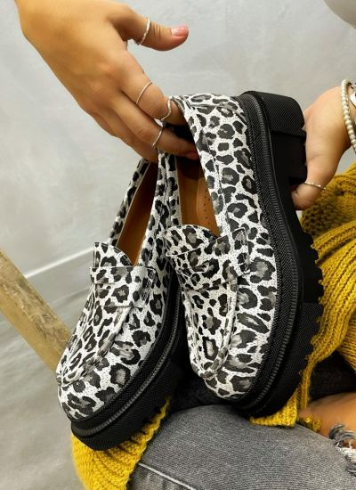 Leather shoes & flats MEENA LEOPARD - WHITE