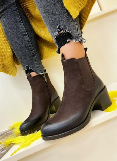 Leather ankle boots ELIZAH - BROWN