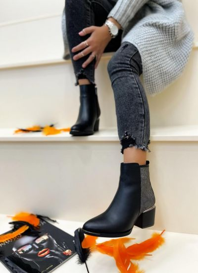 Leather ankle boots ANELLA SNAKE - BLACK