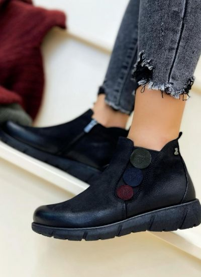 Leather ankle boots MALIN - BLACK
