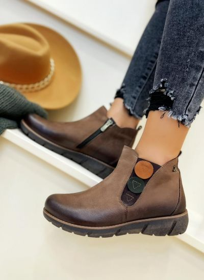 Leather ankle boots MALIN - BROWN