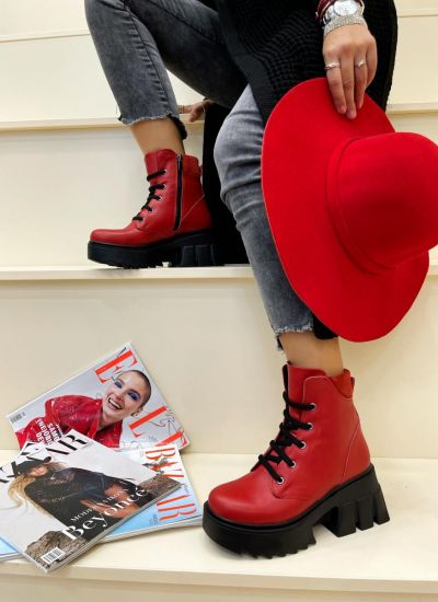 Leather ankle boots SORA - RED