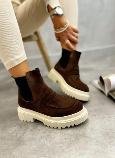 Leather ankle boots AMILYA NUBUCK - BROWN