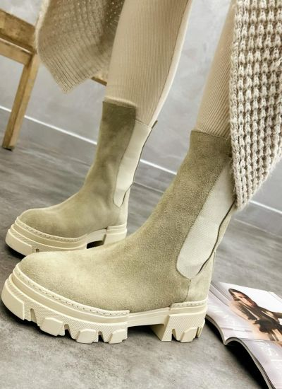 Leather ankle boots EAVE - BEIGE