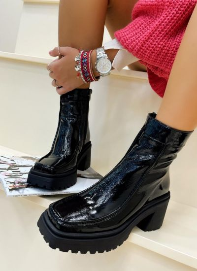 Leather ankle boots TAMMY - BLACK