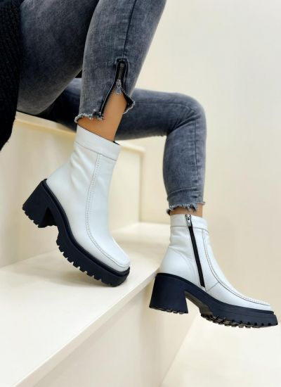 Leather ankle boots TAMMY - WHITE