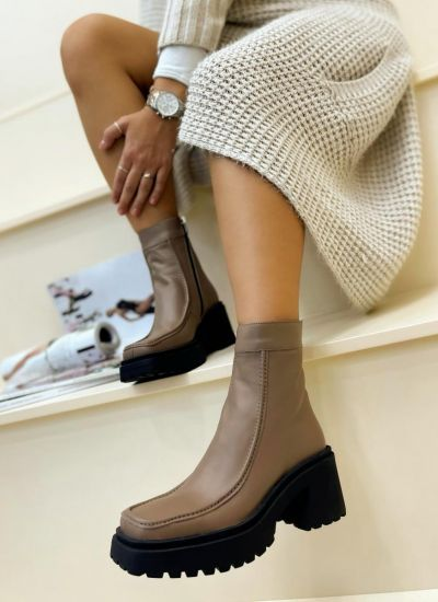 Leather ankle boots TAMMY - BROWN
