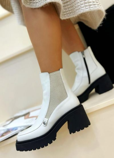 Leather ankle boots FINLAY - WHITE