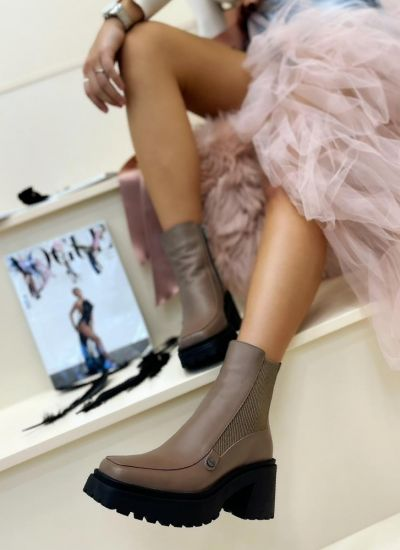 Leather ankle boots FINLAY - BROWN