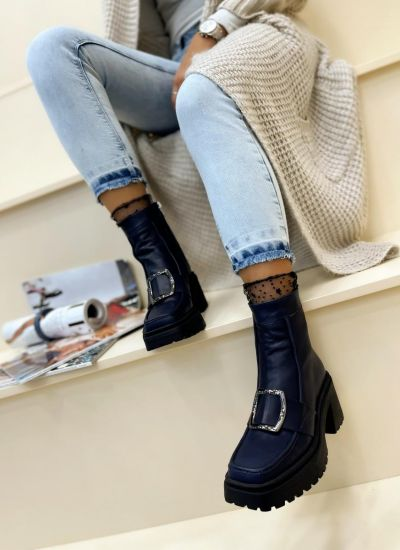 Leather ankle boots LULU - NAVY