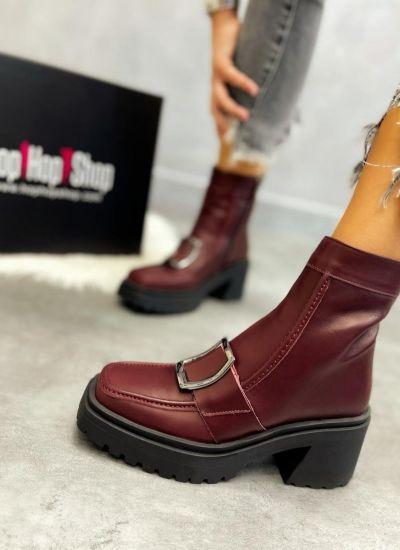 Leather ankle boots LULU - WINE RED