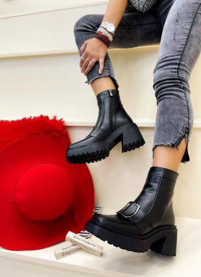 Leather ankle boots LULU - BLACK