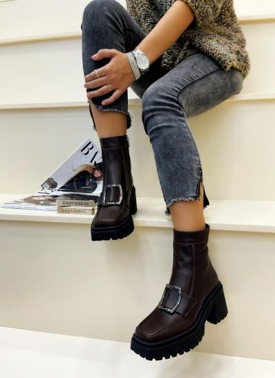 Leather ankle boots LULU - BROWN