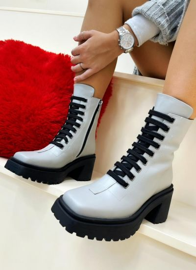 Leather ankle boots COREY - GREY