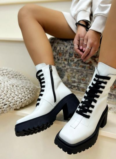 Leather ankle boots COREY - WHITE