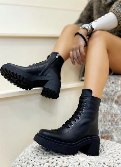 Leather ankle boots COREY - BLACK