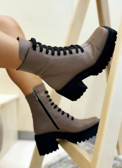 Leather ankle boots COREY - BROWN