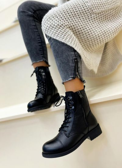 Leather ankle boots BLAINE - BLACK