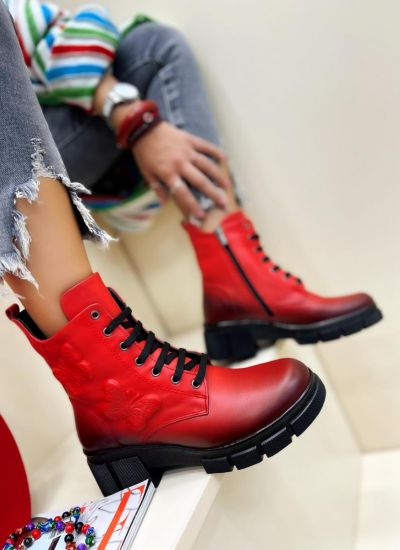 Leather ankle boots CLIONA - RED