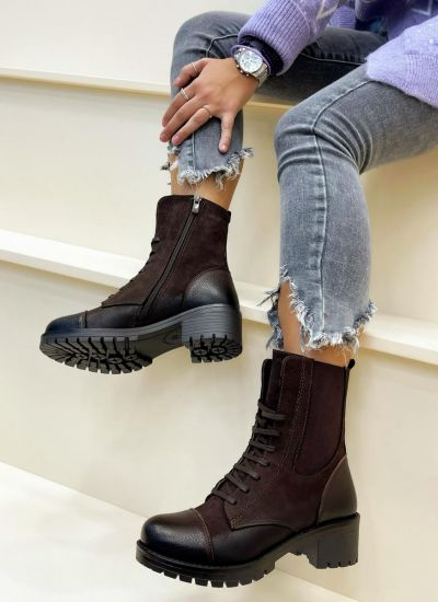 Leather ankle boots RASHI - BROWN