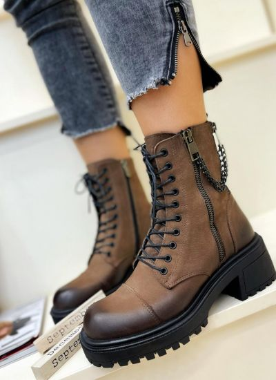 Leather ankle boots NEHAL - BROWN