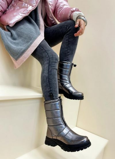 Leather boots ESMIE - SILVER