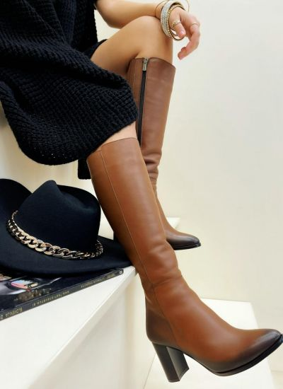 Leather boots LOTTI - CAMEL