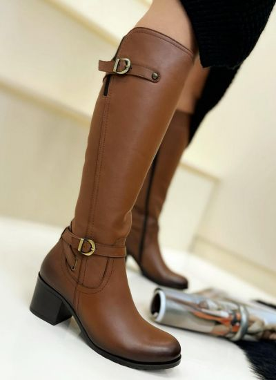 Leather boots LONA - CAMEL