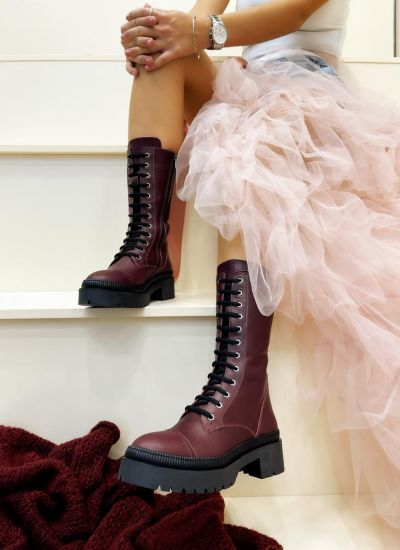 Leather ankle boots ZAINAB - WINE RED