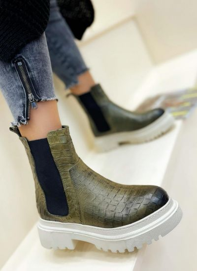 Leather ankle boots ZOE  - GREEN