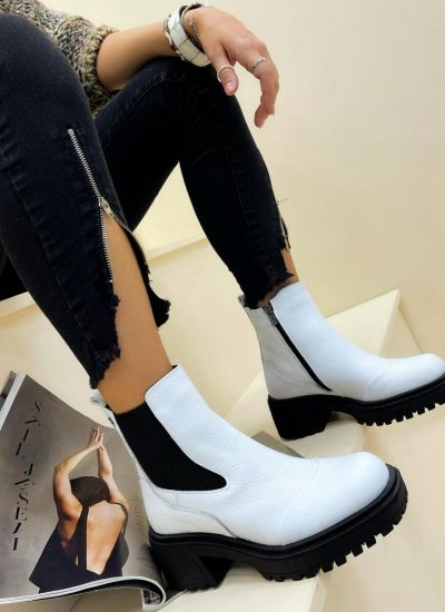 Leather ankle boots ALISE - WHITE