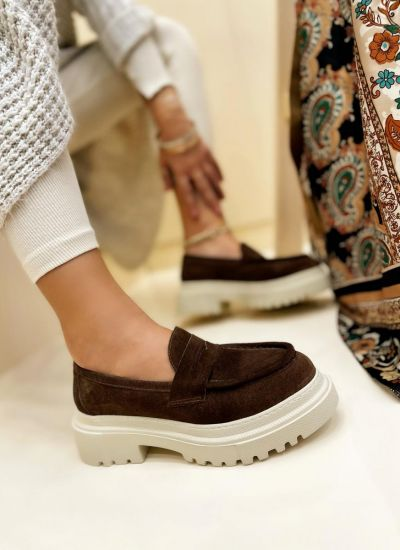 Leather shoes & flats MEENA - BROWN
