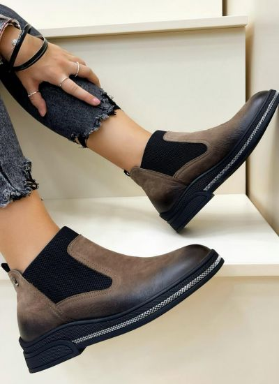 Leather ankle boots VAHINI - BROWN