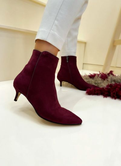 Women ankle boots AYONA VELOUR - WINE RED