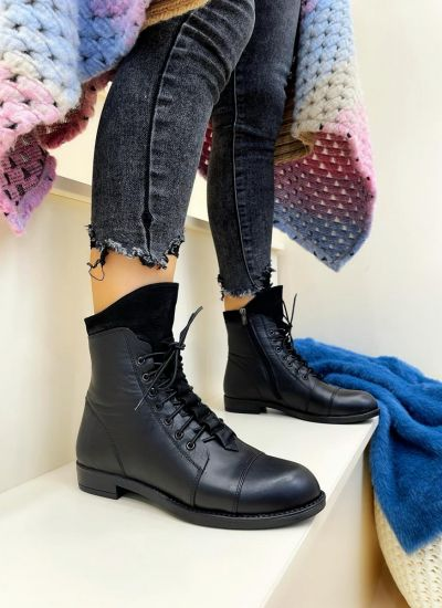 Leather booties KEIRA - BLACK
