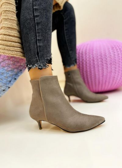 Women ankle boots AYONA VELOUR - BEIGE