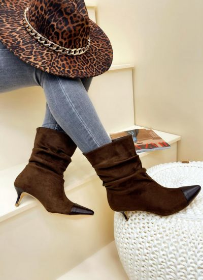 Women ankle boots AAMIYA VELOUR - BROWN