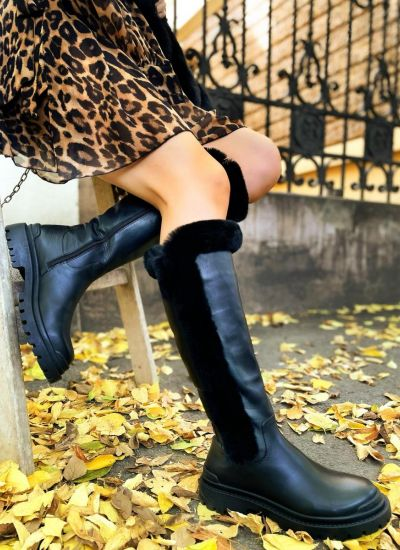 Leather boots MAYS - BLACK