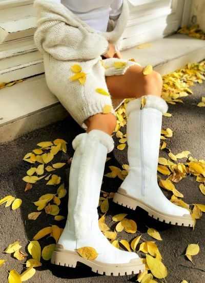 Leather boots MAYS - WHITE