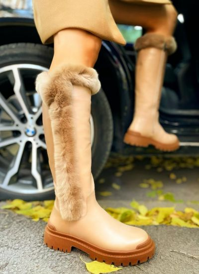 Leather boots MAYS - BEIGE