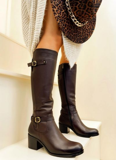 Leather boots LONA - BROWN