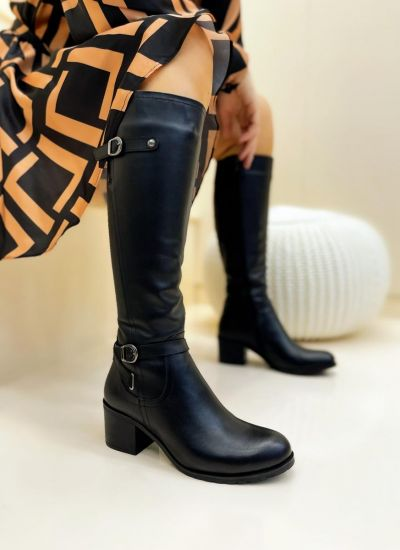 Leather boots LONA - BLACK