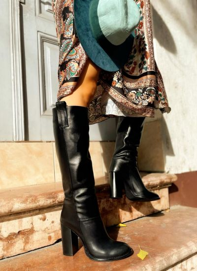 Leather boots MAYLEY - BLACK