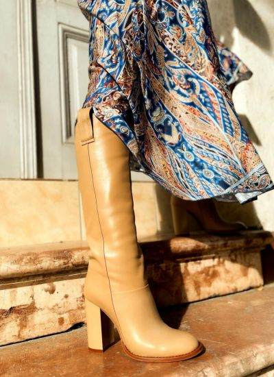 Leather boots MAYLEY - BEIGE